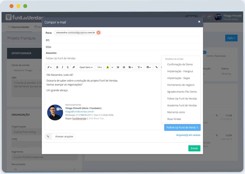 Funcionalidade_e-mail Funil de Vendas :: Software CRM para converter mais negócios